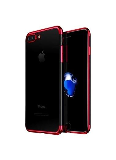 Microsonic iPhone 8 Plus Kılıf Skyfall Transparent Clear  Kırmızı